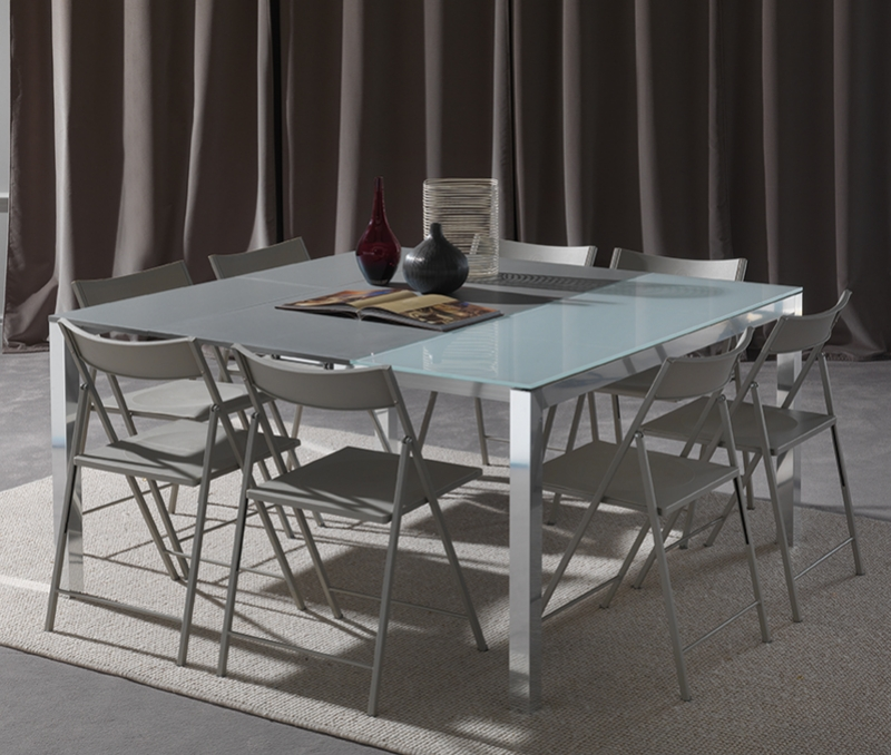 Console d entree extensible en grande table places carre for Salle a manger gain de place