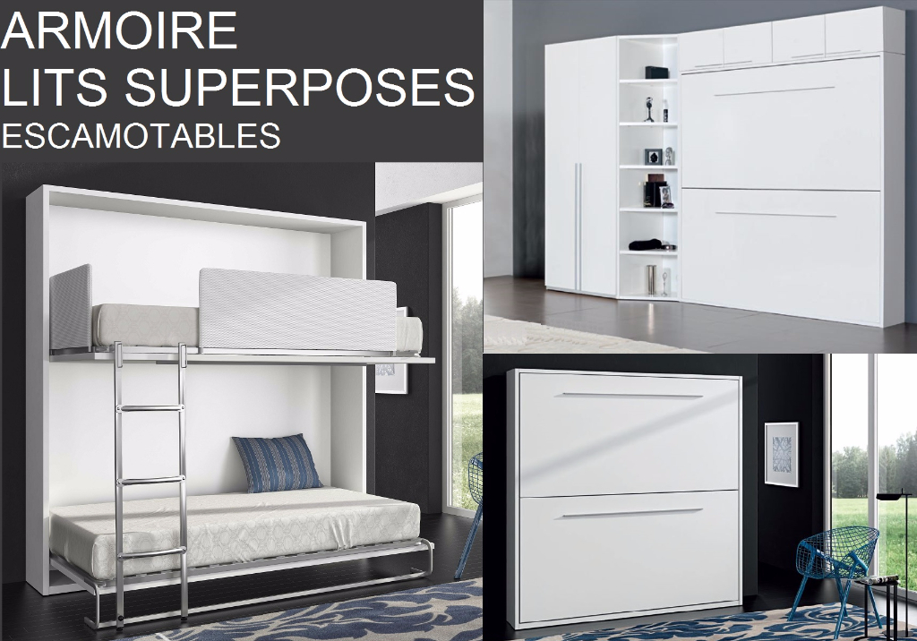 Armoire lit escamotable meubles canap s chezsoidesign - Lit superpose sur mesure ...