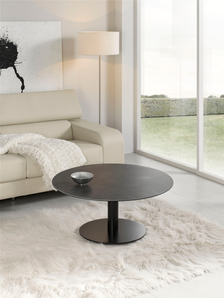 table basse design ronde bois et acier. Black Bedroom Furniture Sets. Home Design Ideas