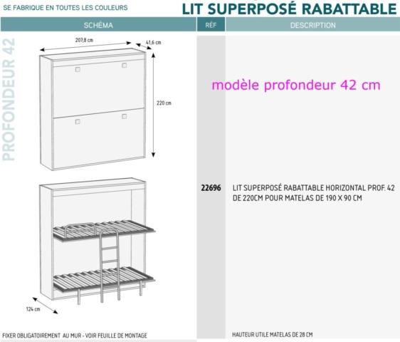 Lit escamotable meubles canap s chezsoidesign st - Lit superpose sur mesure ...