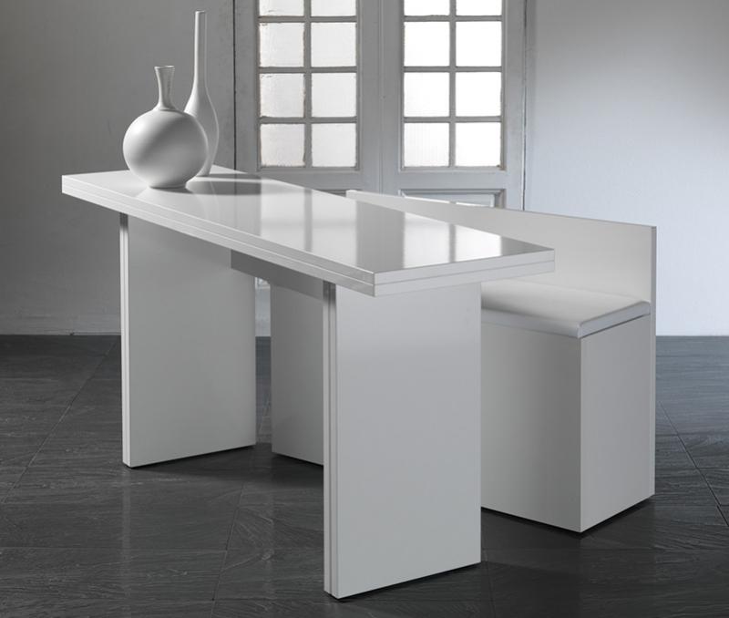 COMPTOIR CONSOLE BAR BOIS BLANC TRANSFORMABLE EN TABLE APPOINT AVEC BANC GAIN DE PLACE