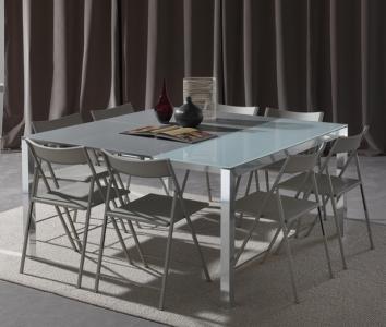 CONSOLE D ENTREE TRANSFORMABLE EXTENSIBLE EN GRANDE TABLE 8 PLACES CARRE GAIN DE PLACE PRATIQUE ALU VERRE